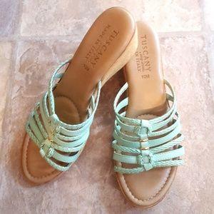 9/10M Tuscany wedge teal sandals EUC